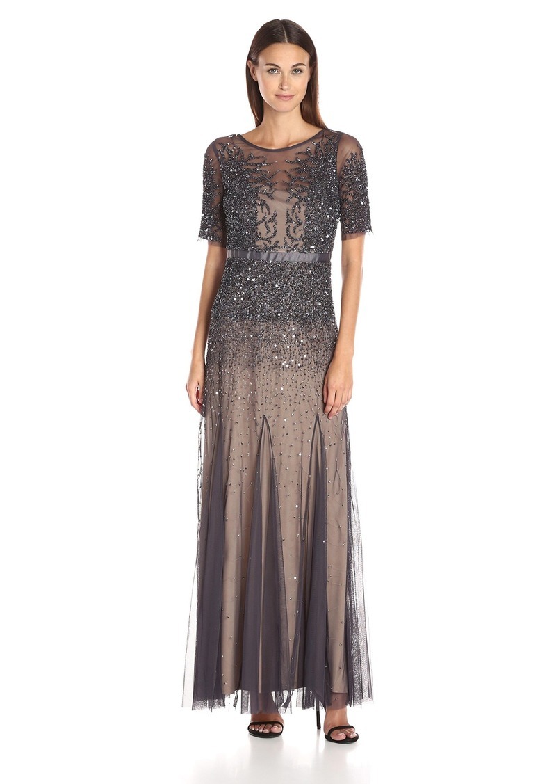 Adrianna Papell Women's Elbow Length Sleeve Fully Beaded Gown with Godets
