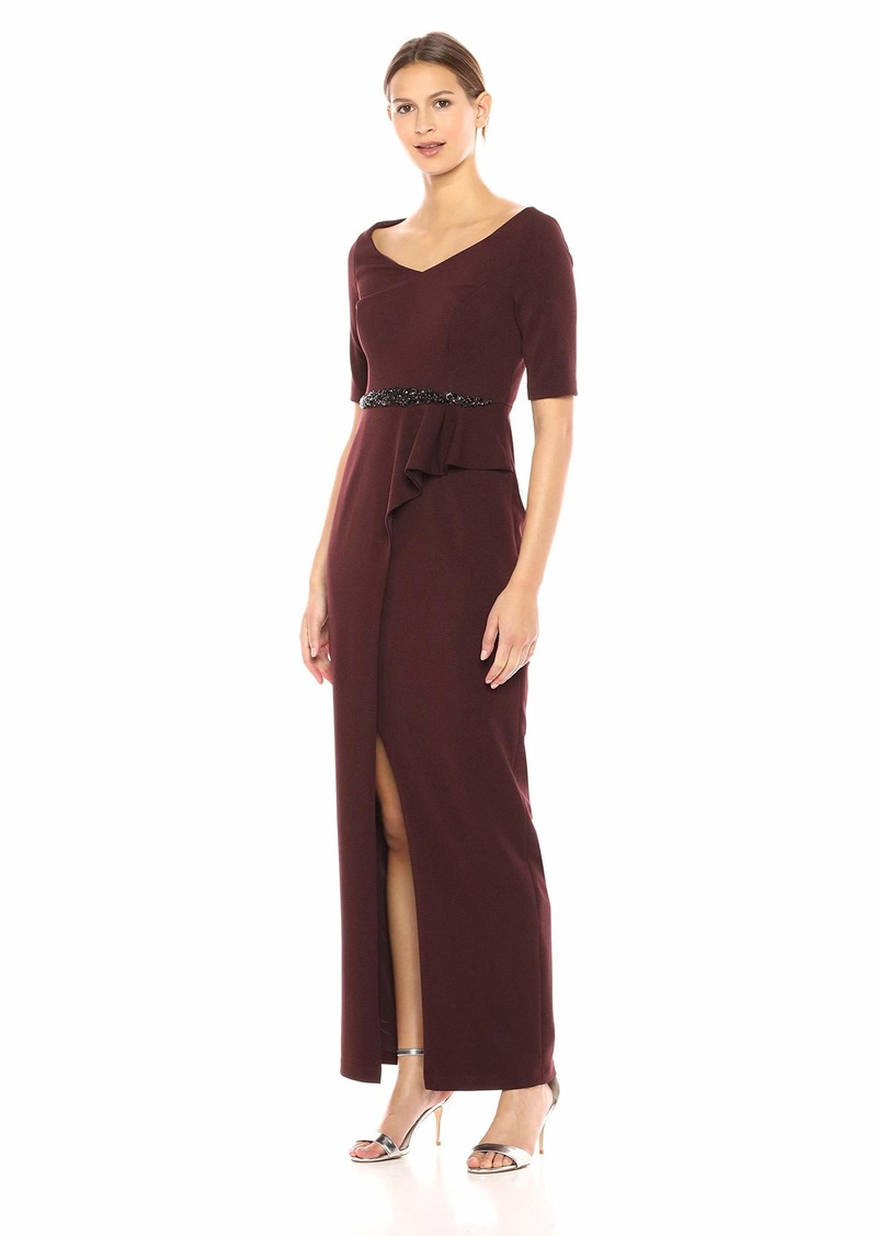 Adrianna Papell Women's Elbow Sleeve Beaded Waistline Long Stretch Ottoman Dress BlackBerry Wine