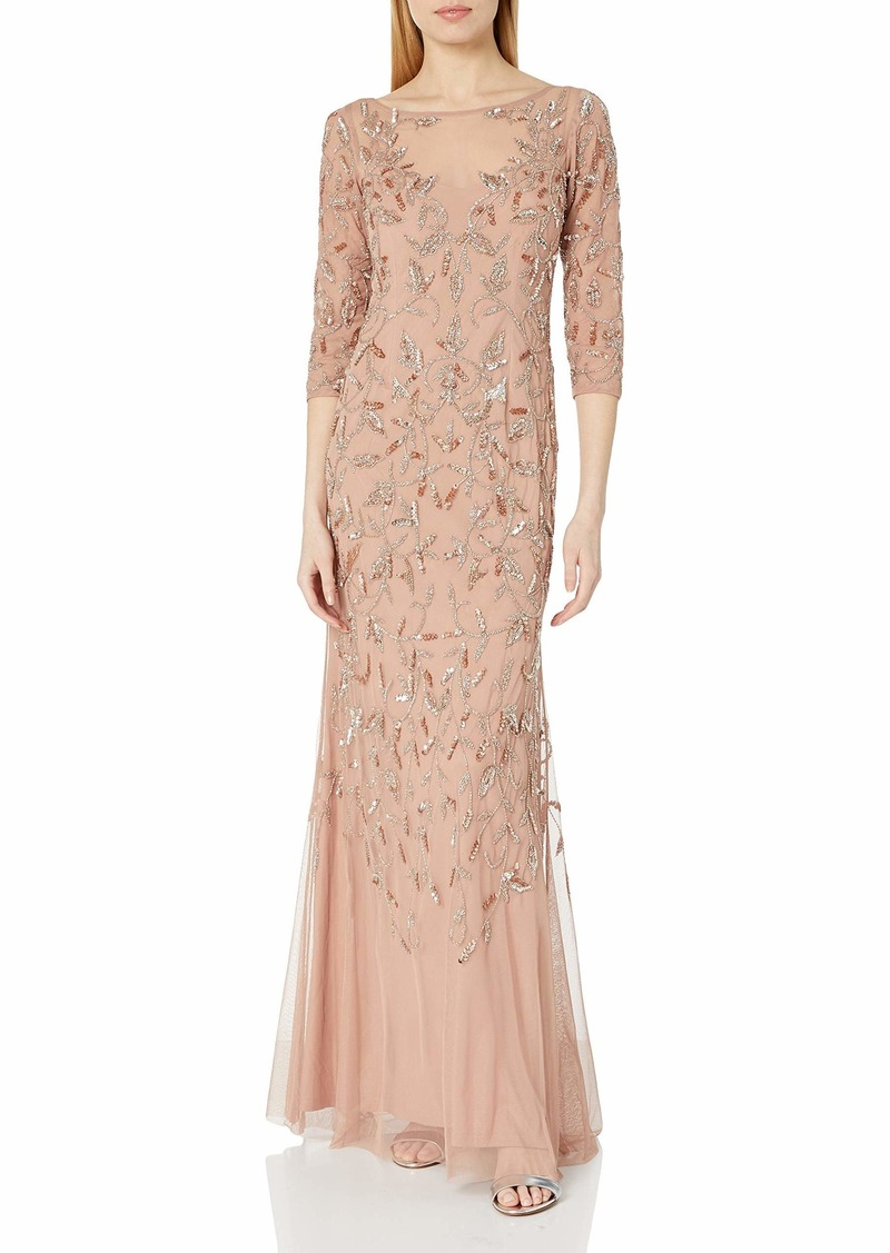 Adrianna Papell Women's Elbow Sleeve Dress Gown with Floral Scroll Beading