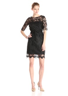 Adrianna Papell Women's Elbow Sleeve Illusion Lace Sheath Dress