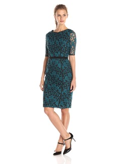 Adrianna Papell Women's Elbow Sleeve Seamed Lace Sheath Dress