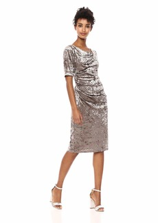 Adrianna Papell Women's Elbow Sleeves Perforated Velvet Sheath Dress