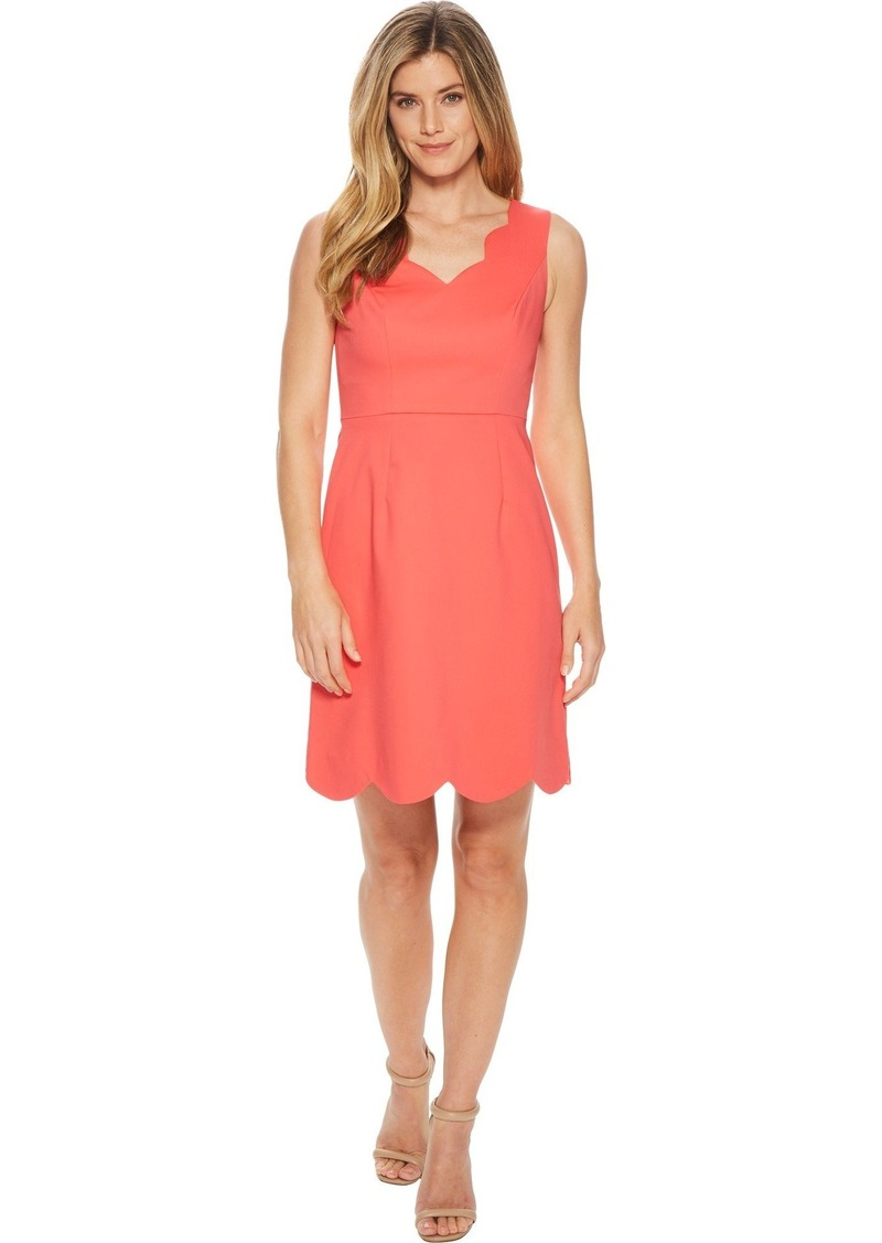 Adrianna Papell Women's ELSA Cotton Nylon Scalloped A-LINE Dress