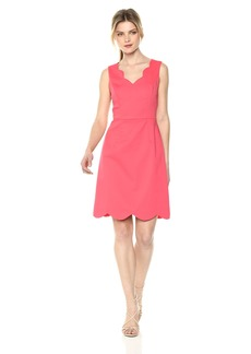 Adrianna Papell Women's ELSA Cotton Nylon Scalloped A-LINE Dress