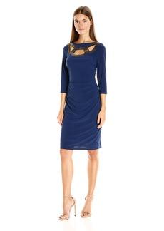 Adrianna Papell Women's Embellished Neckline 3/4 Sleeve Rchd Dress