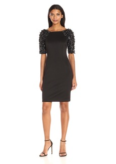 Adrianna Papell Women's Embellished Sleeve Short Cocktail Dress