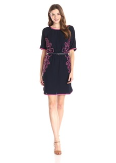 Adrianna Papell Women's Embroidered Crepe Shift Dress with Belt