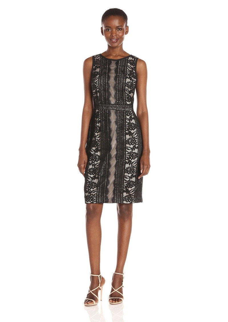 Adrianna Papell Women's Embroidered Directional Striped Lace Dress