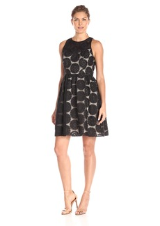 Adrianna Papell Women's Embroidered Fit-and-Flare Dress with Illusion Neck