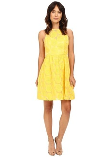 Adrianna Papell Women's Embroidered Fit-and-Flare with Illusion Neck