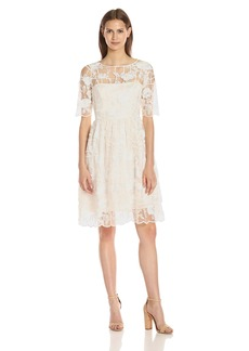 Adrianna Papell Women's Embroidered Grid Lace Party Dress