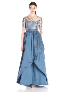 Adrianna Papell Women's Embroidered Lace Bodice Gown with Taffeta Skirt