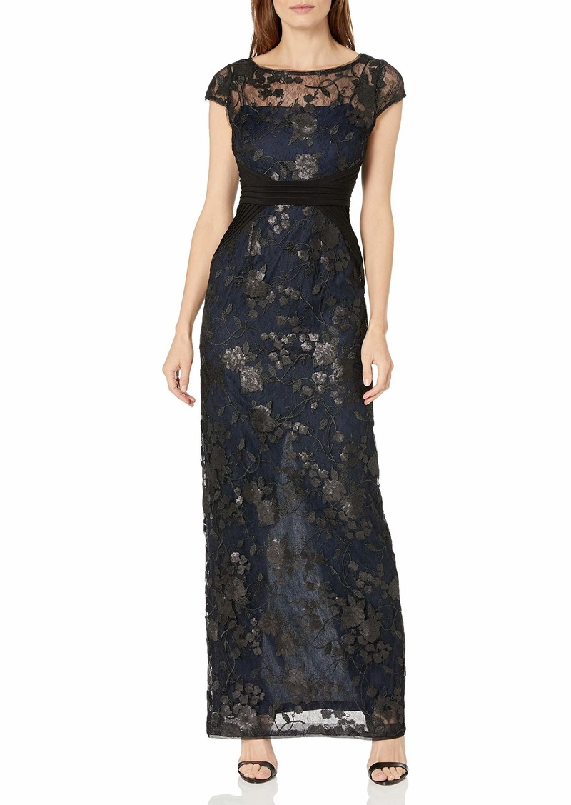 Adrianna Papell Women's Embroidered Mesh and Jersey Gown