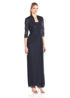 Adrianna Papell Women's Embroidered Sequin Floral Bodice Dress with Tulle Skirt