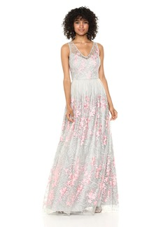 Adrianna Papell Women's Embroidered Tulle Sleeveless Long Dress