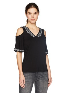 Adrianna Papell Women's Embroidered v Neck Cold Shoulder Ruffle Sleeve top