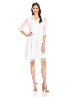 Adrianna Papell Women's Embroidery Voile Shirt Dress