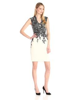 Adrianna Papell Women's Extended Shoulder Mandarin Neckline Sheath Dress Black/Ivory