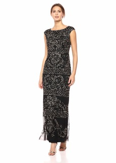 Adrianna Papell Women's Extended Shoulder Modified Mermaid Dress with Beaded Pattern