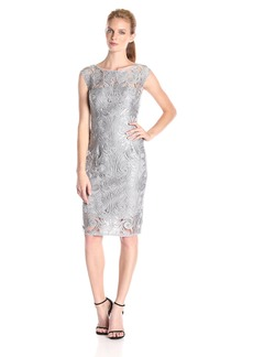 Adrianna Papell Women's Extended Shoulder Sequin Lace Sheath Dress