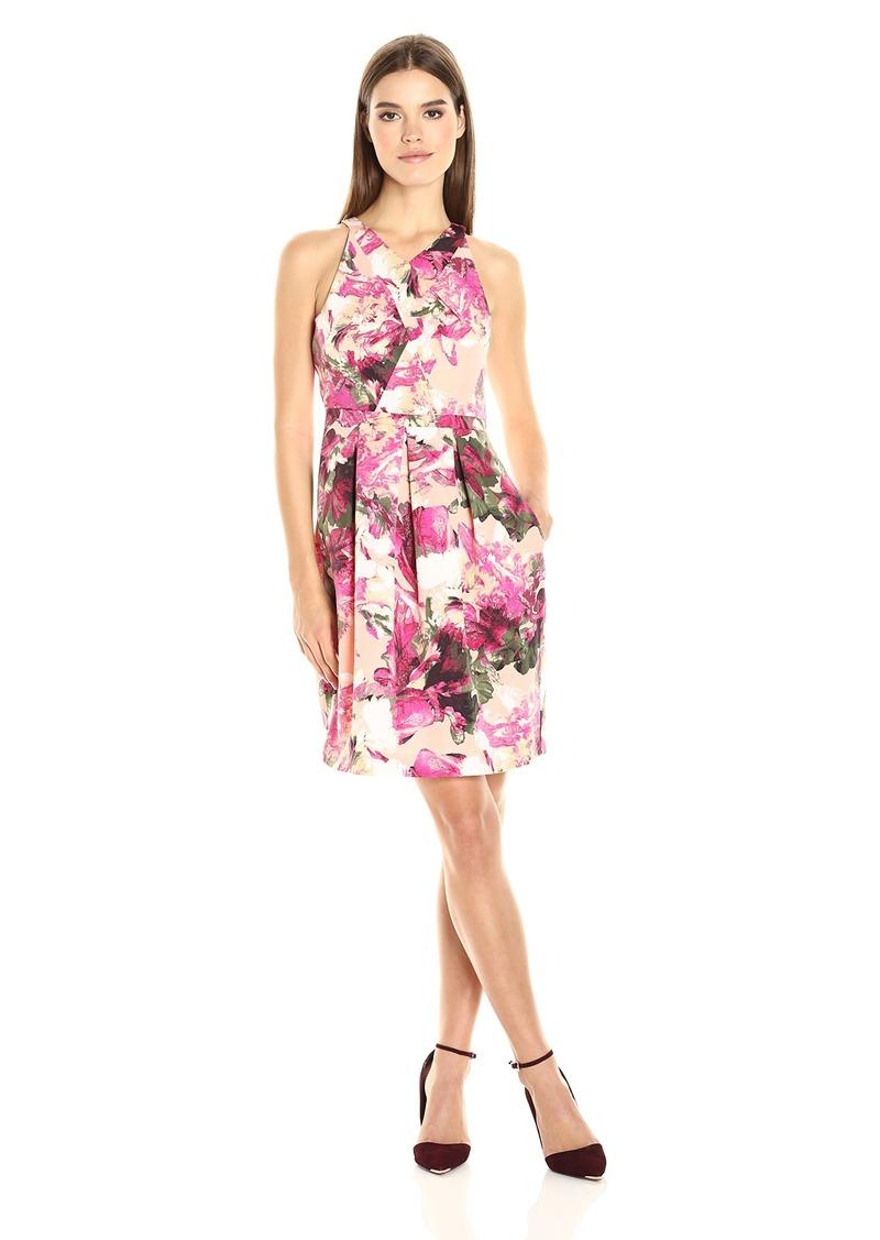 Adrianna Papell Women's Faille Criss Cross Neckline Dress