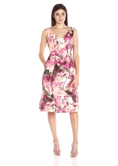 Adrianna Papell Women's Faille Tea Length Fit and Flare
