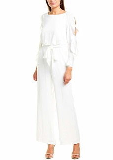 Adrianna Papell Women's Fancy Crepe Ruffled Jumpsuit