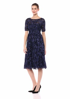 Adrianna Papell Women's Feather Embroidered Midi Dress with Short Sleeves