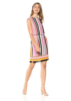 Adrianna Papell Women's Fiesta Stripe Blouson Dress