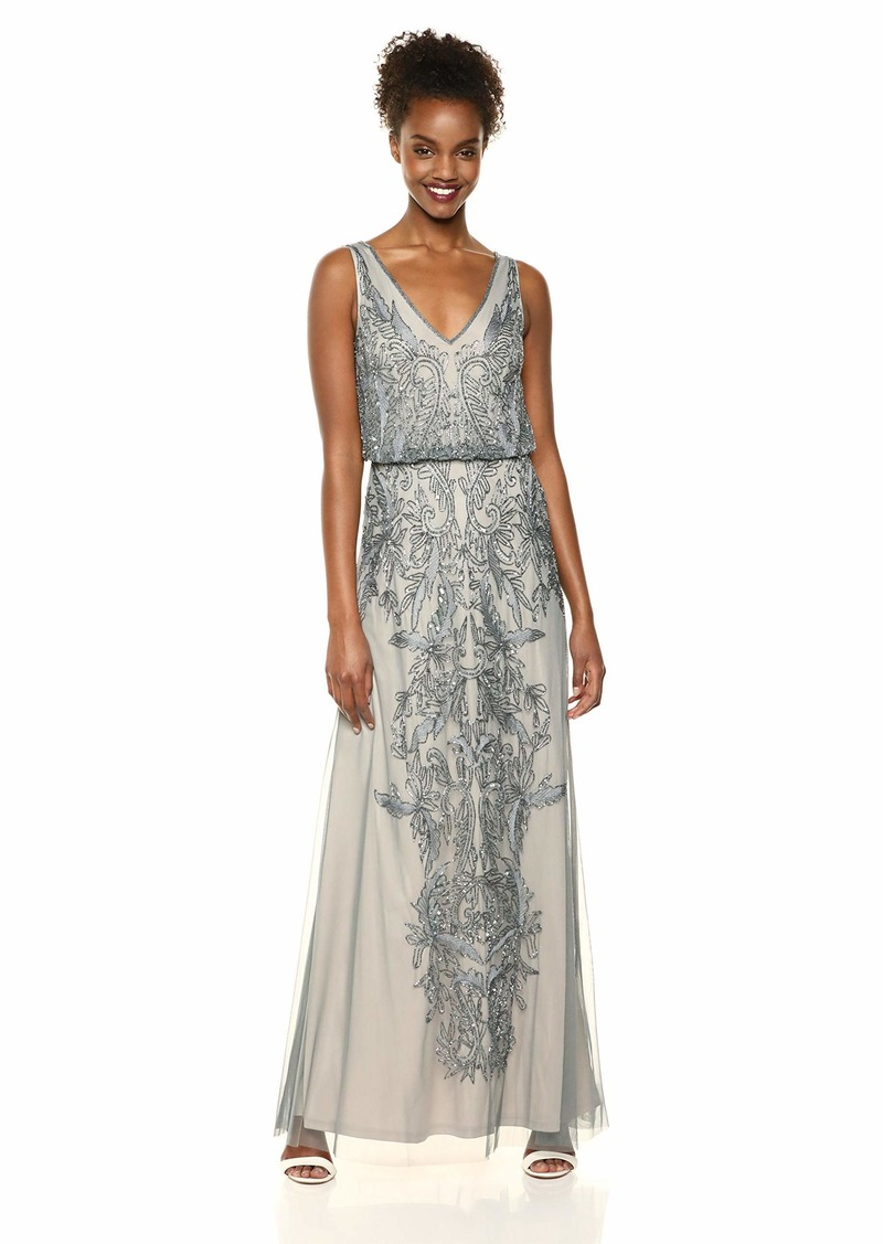 Adrianna Papell Women's Filigree Beaded Blouson Dress with V Neck