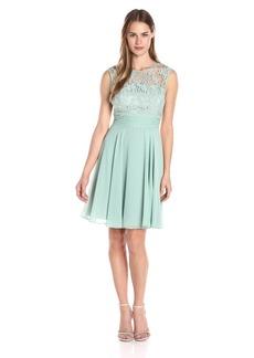 Adrianna Papell Women's Filigree Lace and Chiffon Dress