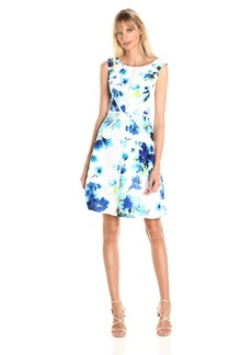 Adrianna Papell Women's Fit and Flare Splice Dress