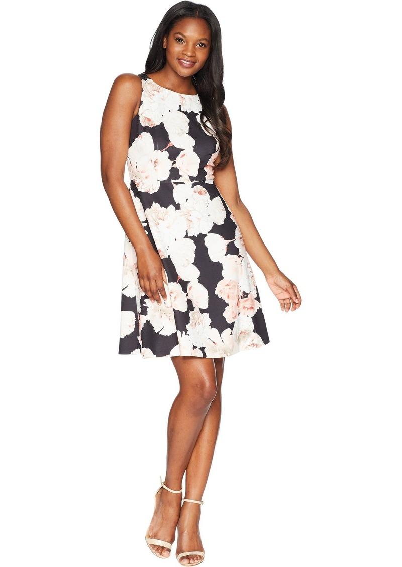 Adrianna Papell Women's Fitted A-LINE Scuba Sleeveless Dress