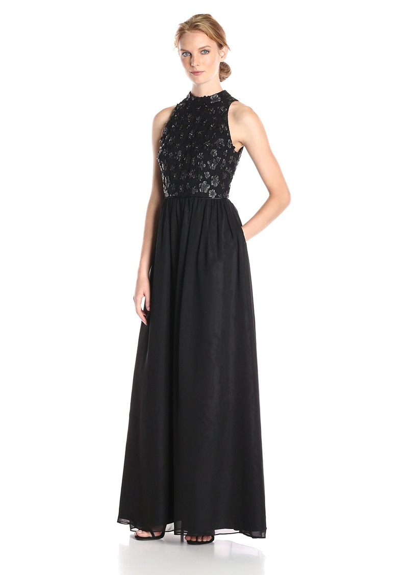 b210557e02e5c Adrianna Papell Women's Floor Length Chiffon Gown with Leather Flower  Appliques