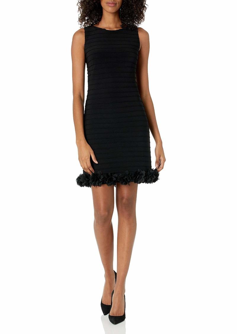 Adrianna Papell Women's Floral Applique Pintuck Dress