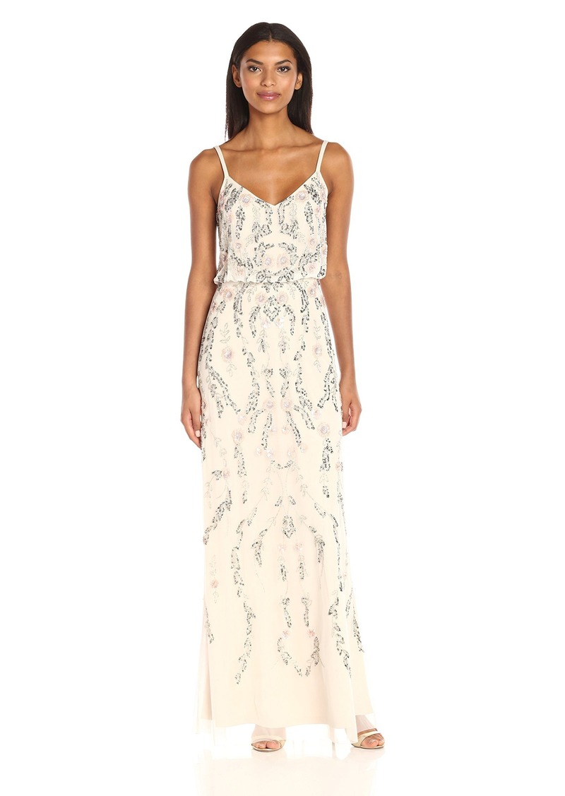 SALE! Adrianna Papell Adrianna Papell Women\'s Floral Beaded Blouson Gown
