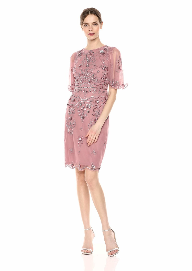 Adrianna Papell Women's Floral Beaded Cocktail Dress with Sheer Flutter Sleeves