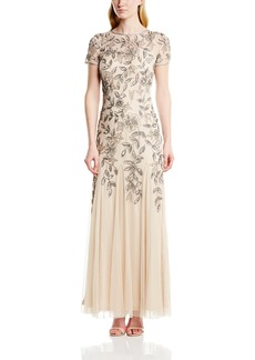 Adrianna Papell Women's FLORAL BEADED GODET GOWN DRESS Dress -taupe/pink