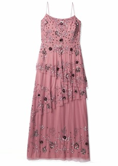 Adrianna Papell Women's Floral Beaded Gown with Asymmetrical Tiered Skirt