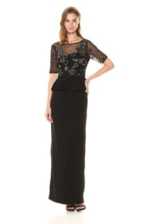 Adrianna Papell Women's Floral Beaded Gown with Peplum and St. Moss Crepe Skirt