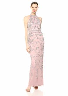 Adrianna Papell Women's Floral Beaded Halter Dress