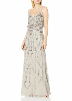 Adrianna Papell Women's Floral Beaded Long Blousson Dress Gown