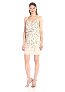 Adrianna Papell Women's Floral Beaded Shirt Blouson Dress