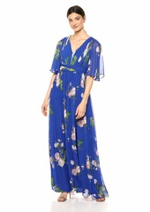 Adrianna Papell Women's Floral Chiffon Dress with Flutter Sleeves