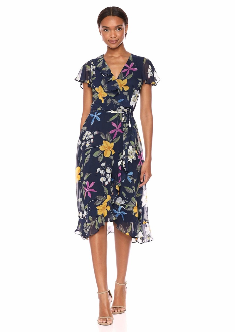 Adrianna Papell Women's Floral Chiffon Faux WRAP Dress