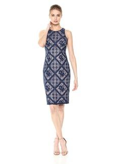Adrianna Papell Women's Floral Diamond LACE Cutaway Sheath Dress