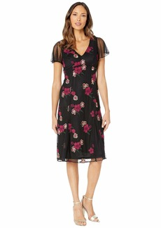 Adrianna Papell Women's Floral Embroidery Boho Dress