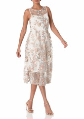 Adrianna Papell Women's Floral Embroidery Flared Dress