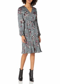 Adrianna Papell Women's Floral Faux Wrap Dress with Pleated Skirt