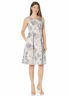 Adrianna Papell Women's Floral Jacquard FIT and Flare